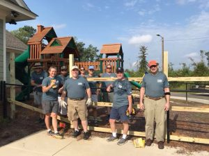 United Way Volunteers after Building Playground