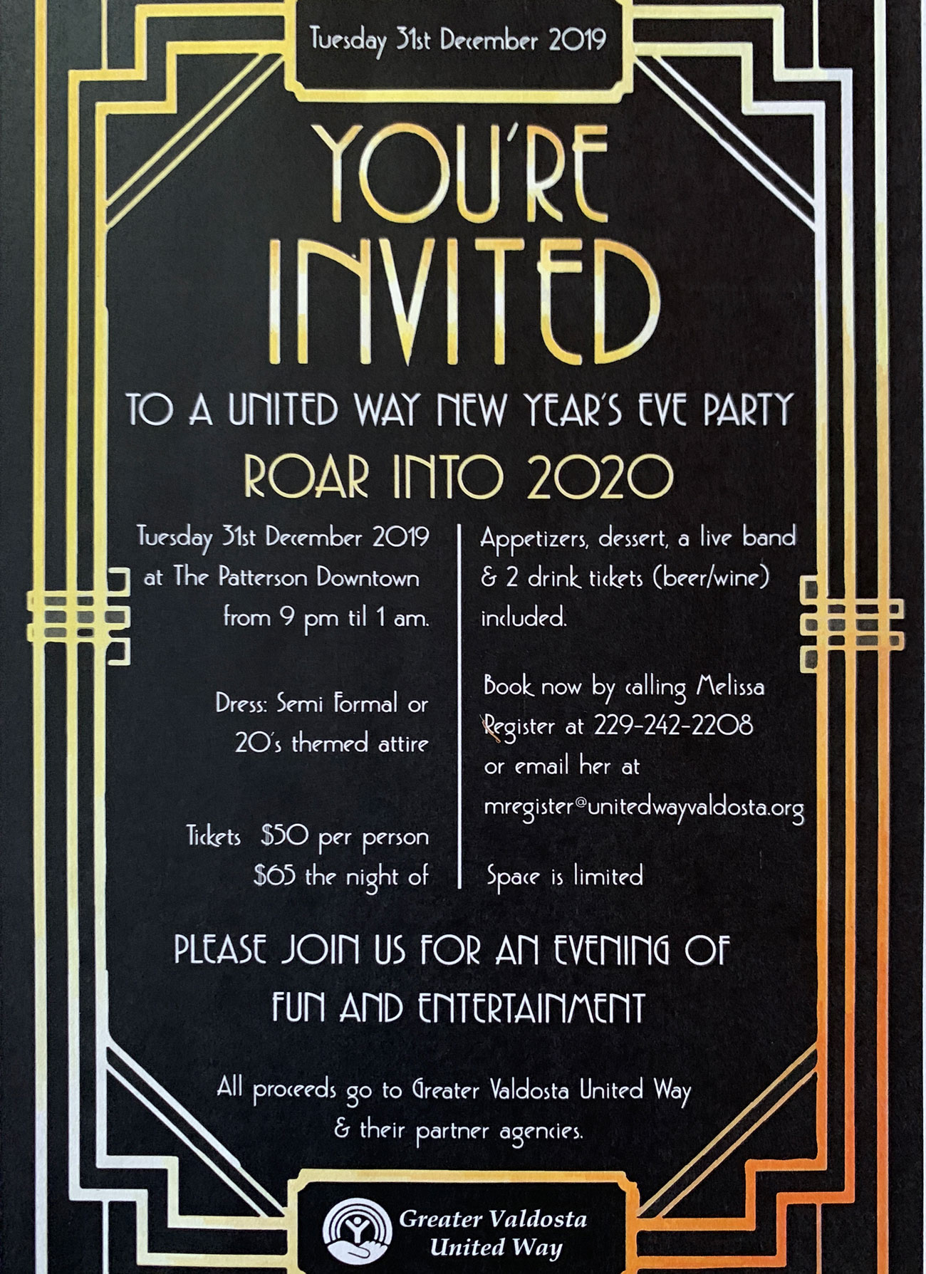 Your Invited to the Roar Into 2020 New Years Celebration